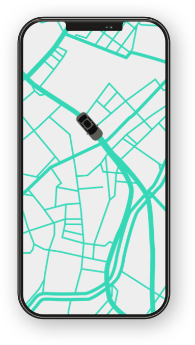 Map Showing a Tracked Trusted Ride on the App